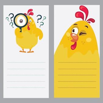 Illustration eines hahns als notizbuch