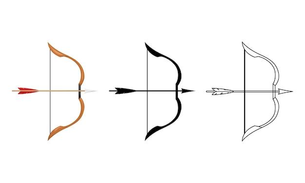 Illustration eines holzbogens mit einer bogensehne und einem pfeil