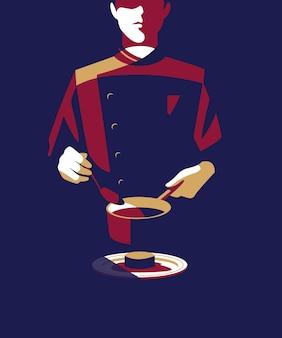 Illustration eines hotelrestaurantkellners, der soße auf einen teller gießt