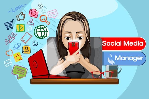 Illustration eines hübschen mädchens mit einem telefon in der hand, das als social media manager arbeitet.