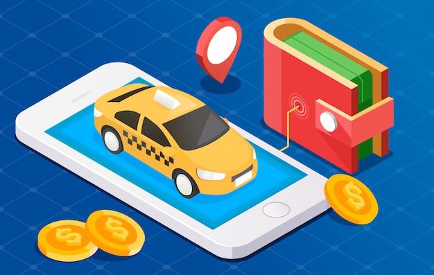 Illustration eines intelligenten taxikonzepts. smartphone mit taxiservice-anwendung auf einem bildschirm. münzen, brieftasche und positionszeiger auf einem hintergrund.