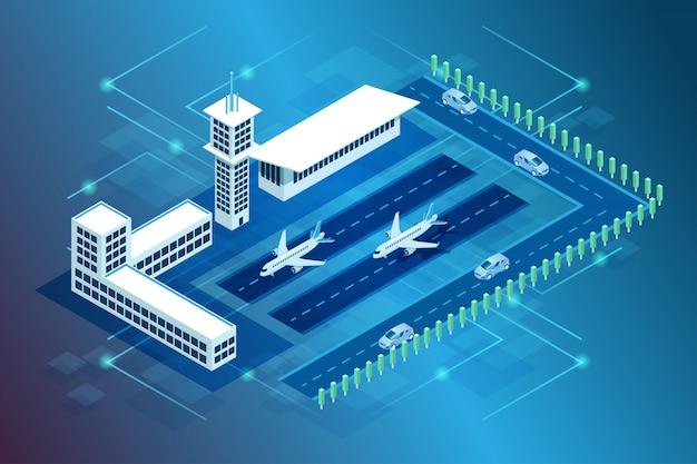 Illustration eines internationalen flughafengebäudes und der landung von flugzeugen und flugzeugen im isometrischen 3d-stil