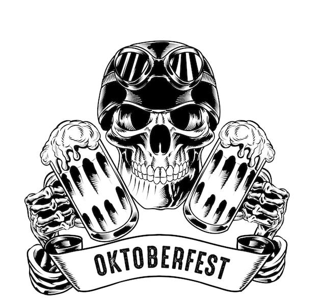 Illustration eines isolierten schädels mit helm, der bier für logo und branding-element hält