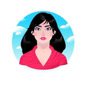 Illustration eines jungen brünetten mädchens. asiatische karikaturfrau mit langen schwarzen haaren. charakter für werbung und design. helles bild einer geschäftsfrau. profil avatar. schönheitssalon.