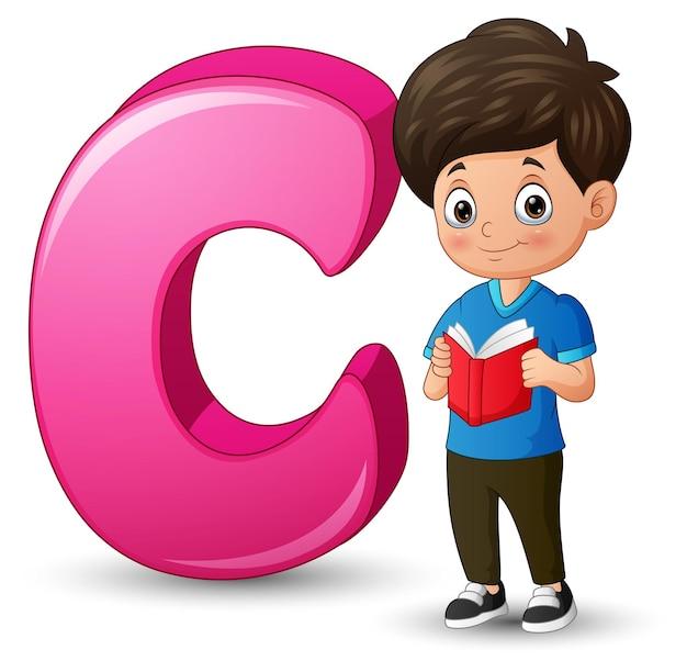 Illustration eines jungen, der buch neben buchstabe c liest