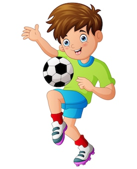 Illustration eines jungen, der fußball spielt