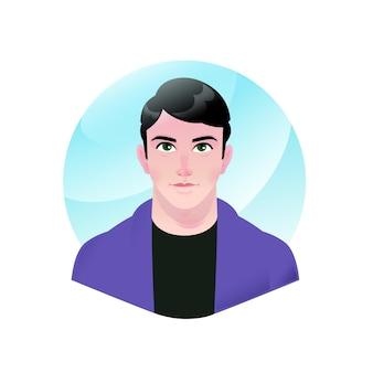Illustration eines jungen gutaussehenden mannes. vektor. karikatur schöner geschäftsmannmann.