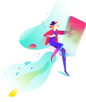Illustration eines jungen mannes in den sozialen netzwerken auf einem abstrakten hintergrund. mann und handy.