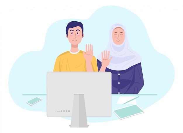 Illustration eines jungen muslimischen paares, das video-chat mit freunden hat. vektor