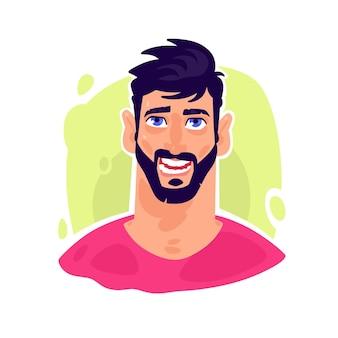 Illustration eines jungen stilvollen mannes. cartoon hübscher bärtiger mann.