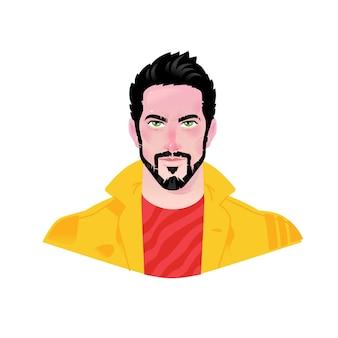 Illustration eines jungen stilvollen mannes. zeichentrickfigur.