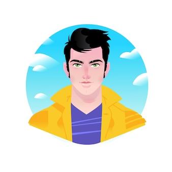 Illustration eines jungen stilvollen mannes