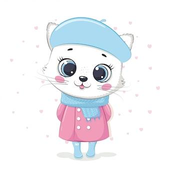 Illustration eines kätzchens in einem mantel und einem schal