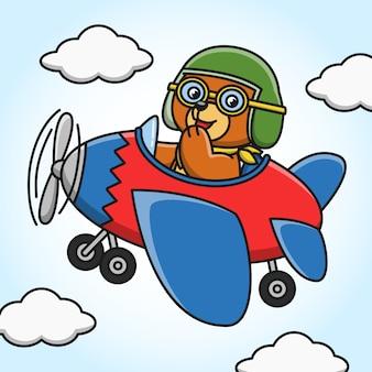 Illustration eines karikaturbären, der durch flugzeug fliegt