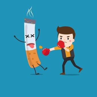 Illustration eines karikaturmannkampfes gegen nikotinsucht.