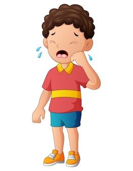 Illustration eines kleinen jungen, der auf weißem hintergrund weint