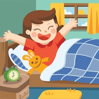 Illustration eines kleinen mädchens wachen am morgen auf.