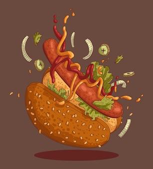 Illustration eines köstlichen hot dogs für streetfood-schild oder menüdesign