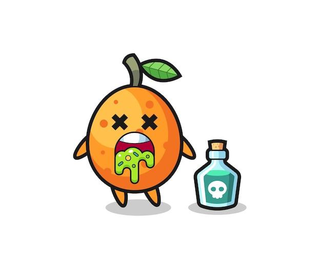 Illustration eines kumquat-charakters, der sich aufgrund von vergiftung erbricht, niedliches design für t-shirt, aufkleber, logo-element