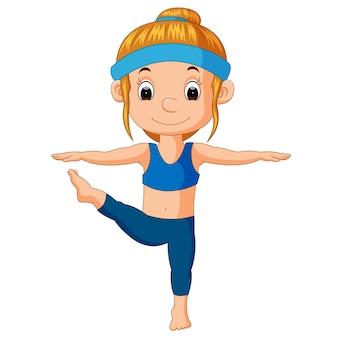 Illustration eines lächelnden mädchens, das yoga tut