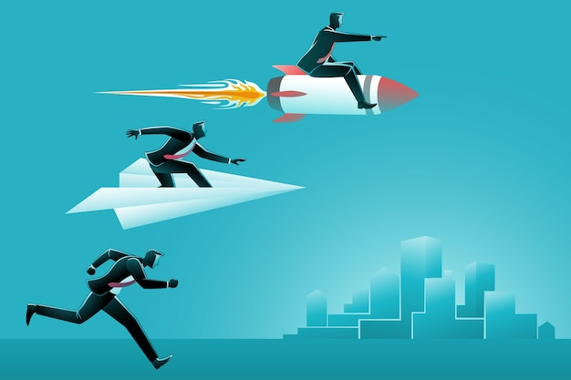 Illustration eines laufenden geschäftsmannes, der mit einem geschäftsmann auf papierflugzeug und geschäftsmann auf rakete läuft