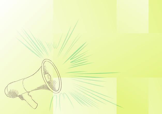 Illustration eines lauten megaphon-lautsprechers, der neue ankündigungen macht. strichzeichnung megaphon, die aktuelle werbung produziert. verstärkerskizze, die späte sendung zeigt.