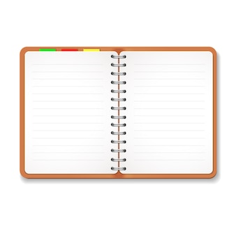 Illustration eines ledernen notizbuches mit spirale, bunte vorsprünge, leeres gezeichnetes papier