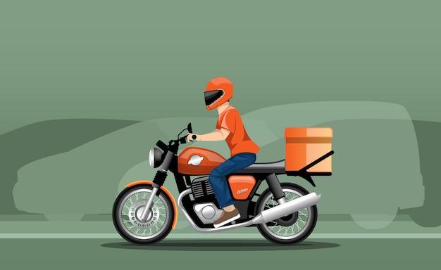 Illustration eines lieferboten in bewegung auf einem motorrad vor dem hintergrund des verkehrs.