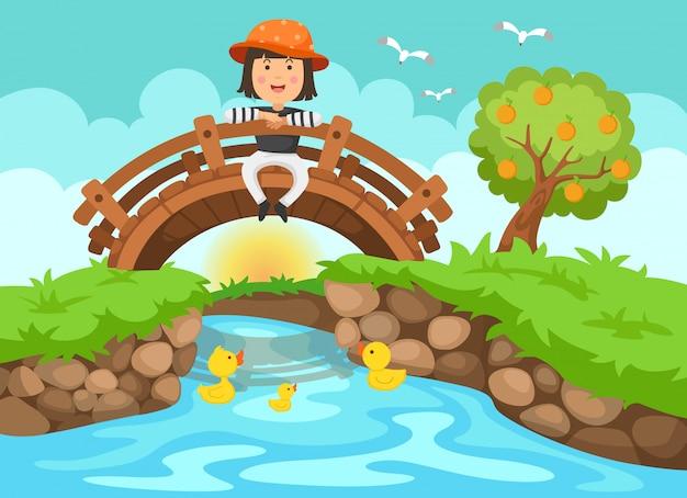 Illustration eines mädchens, das auf holzbrücke in der naturlandschaft sitzt