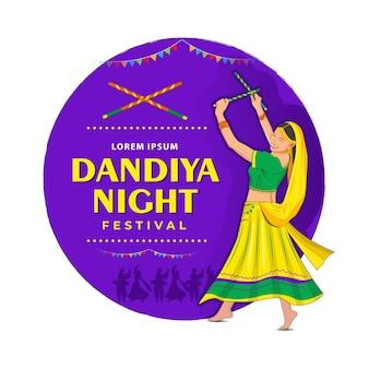 Illustration eines mädchens, das dandiya in der disco garba night banner poster spielt