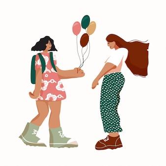 Illustration eines mädchens, das mädchen ein geschenk gibt. schwesternschaftskonzept.