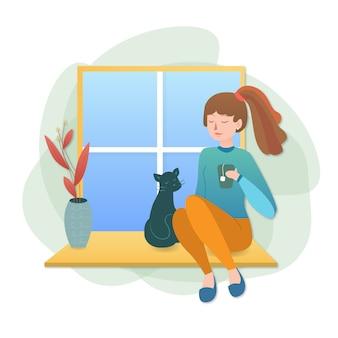 Illustration eines mädchens, das tee trinkt und zu hause bei einer katze am fenster bleibt