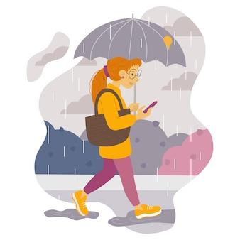 Illustration eines mädchens mit roten haaren, das mit einem regenschirm im regen spaziert und auf das telefon schaut