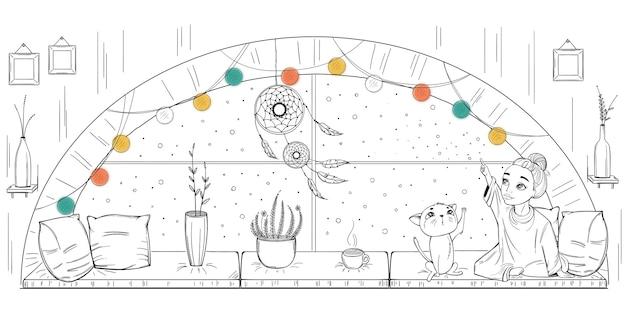 Illustration eines mädchens und einer katze auf dem fenster mit boho-innenraum