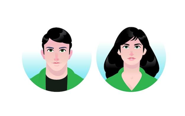 Illustration eines mädchens und eines jungen avatare.