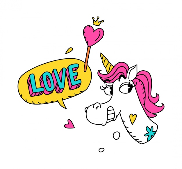 Illustration eines magischen einhorns mit einer rosa mähne.