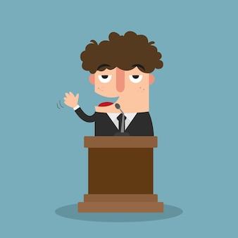 Illustration eines mannes, der auf der konferenz spricht