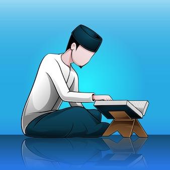Illustration eines mannes, der den koran liest