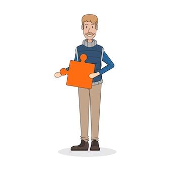 Illustration eines mannes, der ein puzzlespielstück hält