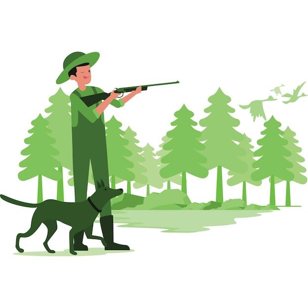 Illustration eines mannes, der enten im wald jagt