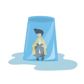 Illustration eines mannes in einem umgedrehten glas