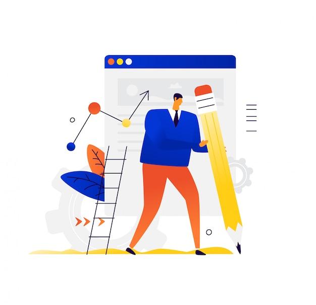 Illustration eines mannes mit einem bleistift auf dem hintergrund der site. metapher.