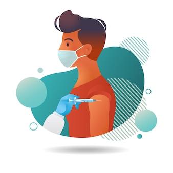 Illustration eines mannes mit gesichtsmaske, der isoliert auf weißem hintergrund geimpft wird Premium Vektoren