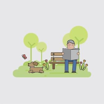 Illustration eines mannes mit seinem hund
