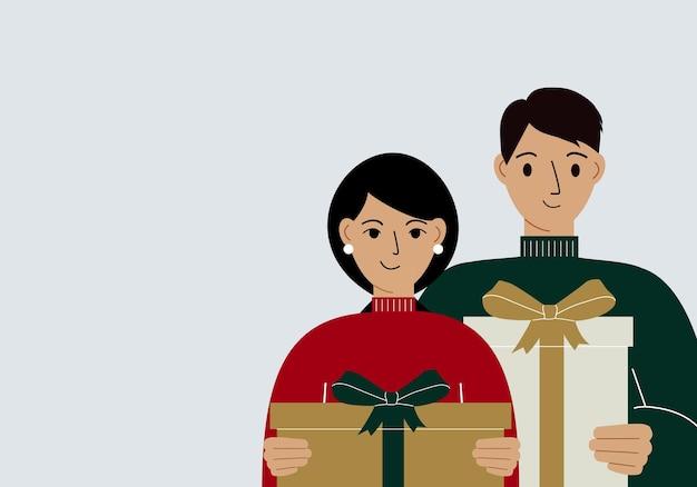 Illustration eines mannes und einer frau mit großen geschenkboxen in ihren händen. geschenk-, empfangs- und kaufkonzept. flache vektorgrafik
