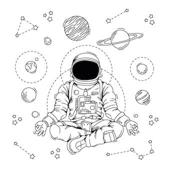 Illustration eines meditierenden astronauten