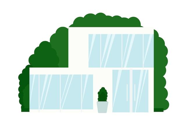 Illustration eines modernen weißen hauses mit großen fenstern und glastür
