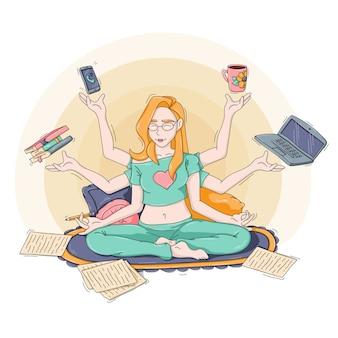 Illustration eines multitasking-mädchens