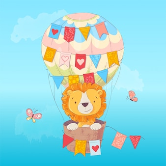 Illustration eines netten löwes in einem ballon mit flaggen in der karikaturart. handzeichnung.