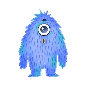 Illustration eines niedlichen blauen karikaturfremden. nettes monster lokalisiert auf weiß.